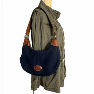 Vintage Dooney & Bourke Canvas Hobo Shoulder Bag